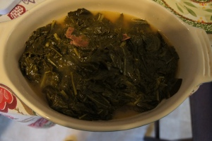 Finished greens after being transferred to a serving dish.